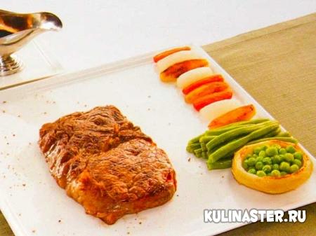 Рецепт приготовления антрекота с овощами пофранцузски